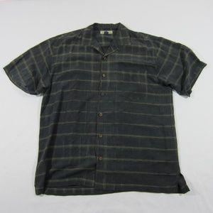 Men's Tommy Bahama Black Button Up Square Shirt L